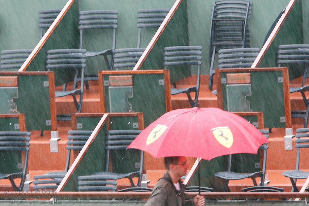 Roland Garros. Paris, France. May 27th 2008..It's a raining day...