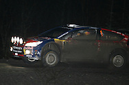 Action from the Wales Rally GB 2008. Stage under darkness at the Walters Arena nr Glynneath,South Wales on Friday 5th Dec 2008. Sebastien Loeb/Daniel Elena in their Citroen Total WRT car.