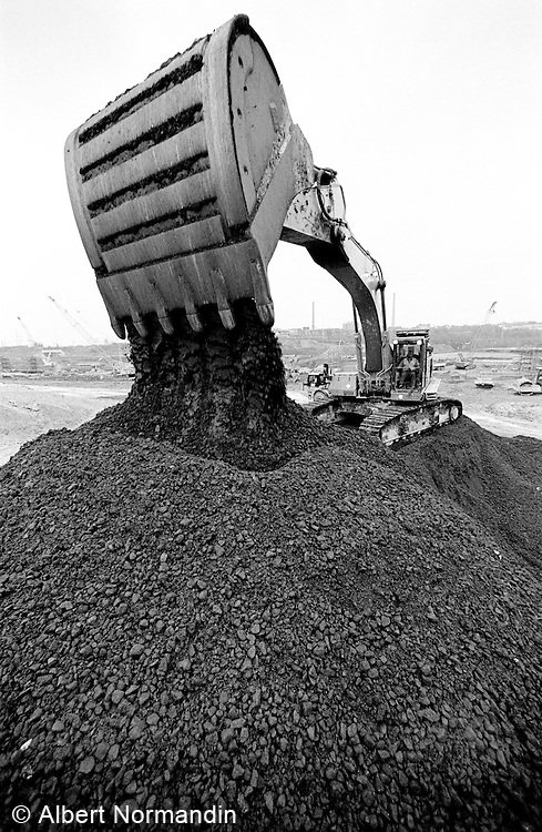Loader dumping gravel at Heathrow Airport expansion