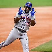 New York Mets outfielder Guillermo Heredia celebrates his home run against the Washington Nationals as he rounds third base on September 27, 2020 at Nationals Park.