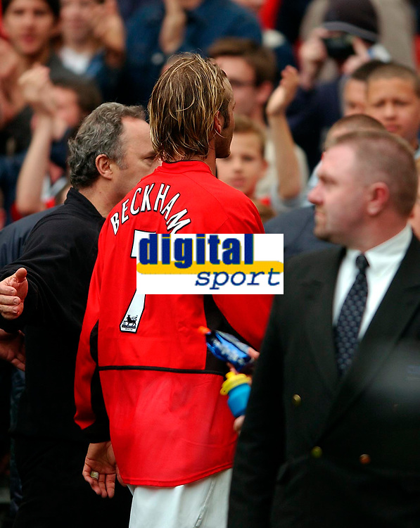 Photo. Richard Lane<br />Manchester United v Charlton. Barclaycard Premiership 3/5/2003.<br />David Beckham heads to the tunnell for the last time in a Manchester United shirt?