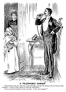 """A telephonic danger. Paterfamilias (who has just rung up the call-office, and has his attention diverted by his little daughter). """"Hullo, dear, coming to kiss me good-night?"""" Voice of female telephone clerk (severly). """"I beg your pardon?"""""""