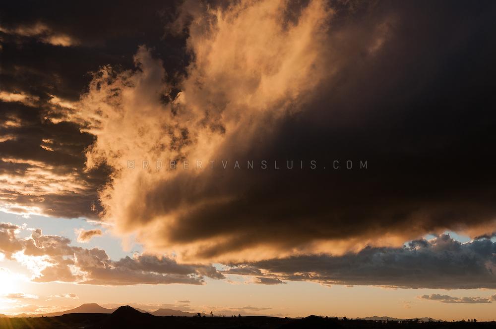 Clearing storm at sunset,  Arizona, USA