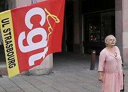 October 9, 2018 - Strasbourg, France - Demonstrators protest during a one-day nationwide strike over French President Emmanuel Macron's policies on October 9, 2018 in Strasbourg, eastern France. (Credit Image: © Elyxandro Cegarra/NurPhoto via ZUMA Press)