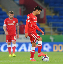 Cardiff City's Javi Guerra cuts a dejected figure as Cardiff City go 0 - 2 down - Photo mandatory by-line: Dougie Allward/JMP - Mobile: 07966 386802 - 23/09/2014 - SPORT - FOOTBALL - Cardiff - Cardiff City Arena - Cardiff City v AFC Bournemouth - Capital One Cup - Third Round
