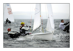 470 Class European Championships Largs - Day 1.Racing in grey and variable conditions on the Clyde..CRO83, Sime FANTELA, Igor MARENIC