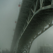 Pleasure craft near Granville Street Bridge await a better day as fog shrouds the City of Vancouver, BC