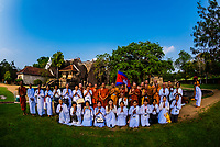 A group of Cambodian Buddhist monks and nuns on a pilgrimmage at Isurumuniya Temple, Anuadhapura. SrI Lanka. Anuradhapura is one of the ancient capitals of Sri Lanka, famous for its well-preserved ruins of an ancient Sri Lankan civilization.