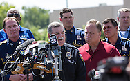 Police Chief Jim Craft at press conference in front of the Grand 16 cinema in  Lafayette Louisiana the day after a mass shooting.