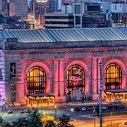 Close up of Union Station in downtown Kansas City, MO at dusk.