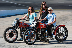Gloria Struck on Steve Coe's flathead racer with daughter Lori DiSilva (on another one of Steve's bikes) and grand-daughter Cathy on the New Smyrna Speedway after the Sons of Speed Race during Daytona Bike Week. New Smyrna Beach, FL. USA. Saturday March 17, 2018. Photography ©2018 Michael Lichter.