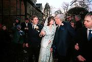 Bride and groom and John Mortimer. Marriage of Emily Mortimer, ( daughter of John Mortimer ) to Alessandro Nivola, Turville.© Copyright Photograph by Dafydd Jones 66 Stockwell Park Rd. London SW9 0DA Tel 020 7733 0108 www.dafjones.com