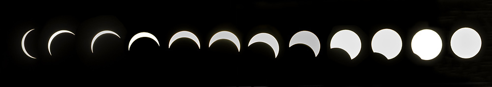 Solar eclipse of the sun shot from Seattle Center Monday, August 21, 2017.  92% of the sun was obscured by the moon in Seattle. (Ellen M. Banner / The Seattle Times, 2017)