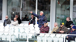 A spectator throws the ball back after a Gloucestershire's Hamish Marshall six - Photo mandatory by-line: Harry Trump/JMP - Mobile: 07966 386802 - 30/03/15 - SPORT - CRICKET - Pre Season Fixture - T20 - Somerset v Gloucestershire - The County Ground, Somerset, England.