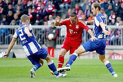 15.10.2011, Allianz Arena, Muenchen, GER, 1.FBL,  FC Bayern vs Hertha BSC Berlin, im Bild  Christian Lell (Hertha #2) und Roman Hubnik (Hertha #4) koennen Franck Ribery (Bayern #7) nicht stoppen// during the match FC Bayern vs Hertha BSC Berlin, on 2011/10/15, Allianz Arena, Munich, Germany, EXPA Pictures © 2011, PhotoCredit: EXPA/ nph/  Straubmeier       ****** out of GER / CRO  / BEL ******