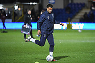 Wimbledon forward Kwesi Appiah (9) warms-up ahead of the The FA Cup fourth round match between AFC Wimbledon and West Ham United at the Cherry Red Records Stadium, Kingston, England on 26 January 2019.