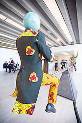 "@Licensed to London News Pictures 22/03/16.Margate, Kent. Yinka Shonibare MBE displays his one of his sculptural work titled ""The British Library"" at Turner Contemporary gallery in Margate, Kent. This piece of work is part of the 14-18 NOW programme of World War 1 Centenary Art commissions. Photo credit: Manu Palomeque/LNP"