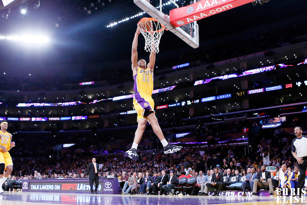 11 April 2014: Los Angeles Lakers forward Wesley Johnson (11) goes for the dunk during the Golden State Warriors 112-95 victory over the Los Angeles Lakers at the Staples Center, Los Angeles, California, USA.
