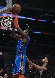 March 8, 2019 - Los Angeles, California, United States of America - Jerami Grant #9 of the Oklahoma Thunder  goes for a basket during their NBA game with the Los Angeles Clippers on Friday March 8, 2019 at the Staples Center in Los Angeles, California. Clippers defeat Thunder, 118-110.  JAVIER ROJAS/PI (Credit Image: © Prensa Internacional via ZUMA Wire)