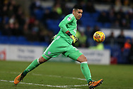 Neil Etheridge, the Cardiff city goalkeeper in action.EFL Skybet championship match, Cardiff city v Norwich city at the Cardiff city stadium in Cardiff, South Wales on Friday 1st December 2017.<br /> pic by Andrew Orchard, Andrew Orchard sports photography.