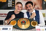 BOXEN: EC Boxpromotion & SES Boxing, Pressekonferenz, Hamburg, 17.12.2019<br /> Sebastian Formella (l.) und Promoter Erol Ceylan<br /> © Torsten Helmke