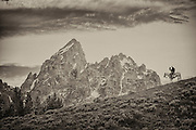 A cowboy pauses on a ridge in Grand Teton National park the with peaks of the Grand dominating the scene.
