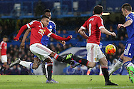 Jesse Lingard of Manchester United takes a shot for goal. Barclays Premier league match, Chelsea v Manchester Utd at Stamford Bridge in London on Sunday 7th February 2016.<br /> pic by John Patrick Fletcher, Andrew Orchard sports photography.