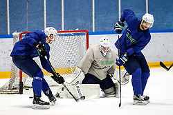 Tadej Cimzar, Luka Gracnar and David Rodman during team Slovenia practice at IIHF World Championship DIV. I Group A Kazakhstan 2019, on May 4, 2019 in Barys Arena, Nur-Sultan, Kazakhstan. Photo by Matic Klansek Velej / Sportida