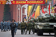 Moscow, Russia, 07/05/2005..Russia celebrates the 60th anniversary of the end Second World War, generally referred to in Russia as the Great Patriotic War. Police and special forces on security alert alongside tanks lined up in a side-street beside Red Square..
