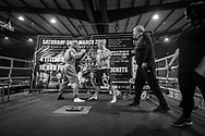 Ultimate bare-Knuckle boxing competition at Manchester's Bowlers Exhibition Centre, Old Trafford, Manchester, UK.<br /> Photo shows the pre match weight-in.<br /> Photo ©Steve Forrest/Workers' Photos