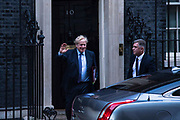 Prime Minister Boris Johnson leaves 10 Downing Street for Prime Minister's Questions on 5th February, 2020 in London, United Kingdom.