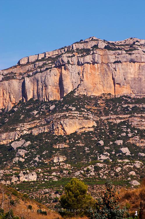 Cliffs over Scala Dei village. Scala Dei, Priorato, Catalonia, Spain