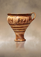 Minoan decorated cup for export, Kommos Harbour 1600-1450 BC; Heraklion Archaeological  Museum. .<br /> <br /> If you prefer to buy from our ALAMY PHOTO LIBRARY  Collection visit : https://www.alamy.com/portfolio/paul-williams-funkystock/minoan-art-artefacts.html . Type -   Heraklion   - into the LOWER SEARCH WITHIN GALLERY box. Refine search by adding background colour, place, museum etc<br /> <br /> Visit our MINOAN ART PHOTO COLLECTIONS for more photos to download  as wall art prints https://funkystock.photoshelter.com/gallery-collection/Ancient-Minoans-Art-Artefacts-Antiquities-Historic-Places-Pictures-Images-of/C0000ricT2SU_M9w