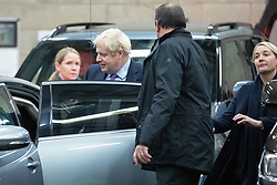 © Licensed to London News Pictures. 19/11/2019. Salford, UK. BORIS JOHNSON leaves after the show . Conservative Party leader Boris Johnson and Labour Party leader Jeremy Corbyn attend a televised election hustings at ITV Studios at Media City as part of their respective campaigns to win the upcoming general election and become the next British Prime Minister . Photo credit: Joel Goodman/LNP