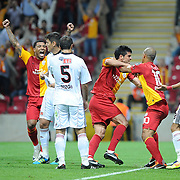 Galatasaray's Gokhan ZAN (3ndR) celebrate his goal with team mate during their Turkish Super League soccer match Galatasaray between Eskisehirspor at the TT Arena at Seyrantepe in Istanbul Turkey on Monday, 26 September 2011. Photo by TURKPIX