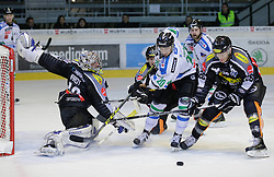26.10.2015, Messestadion, Dornbirn, AUT, EBEL, Dornbirner Eishockey Club vs HDD Telemach Olimpija Ljubljana, 16. Runde, im Bild v.l. Florian Hardy, (Dornbirner Eishockey Club, #49), Gregor Koblar, (HDD Telemach Olimpija Ljubljana, #20) und James Livingston, (Dornbirner Eishockey Club, #26)// during the Erste Bank Icehockey League 16th round match between Dornbirner Eishockey Club and HDD Telemach Olimpija Ljubljana at the Messestadion in Dornbirn, Austria on 2015/10/26, EXPA Pictures © 2015, PhotoCredit: EXPA/ Peter Rinderer