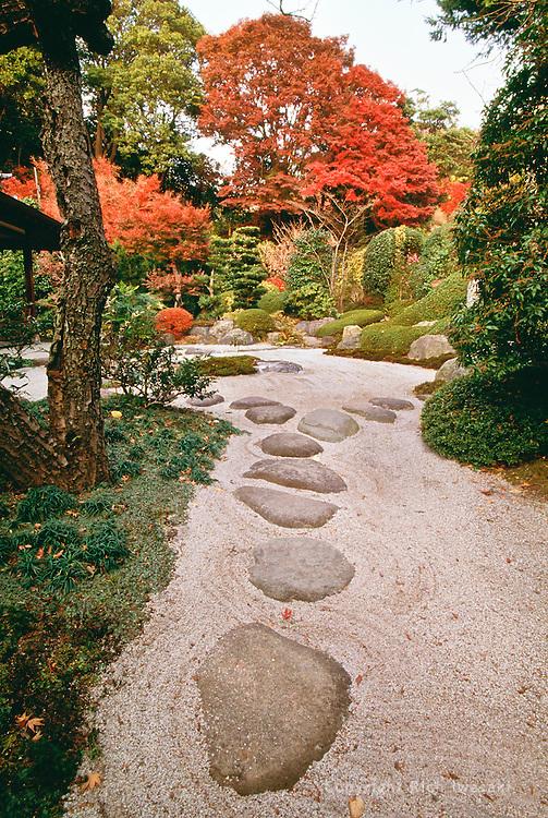 View of the rock garden of Jyomyoji (temple) in autumn, Kamakura, Kanagawa Prefecture, Japan