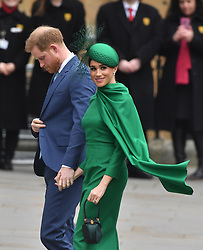 The Duke and Duchess of Sussex arrive at the Commonwealth Service at Westminster Abbey, London on Commonwealth Day. The service is their final official engagement before they quit royal life.