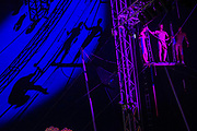 Trapieze artists in the circus field - The 2017 Glastonbury Festival, Worthy Farm. Glastonbury, 24 June 2017