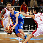 Halcon Avenida's Anke De MONDT (C) during their woman Euroleague group C matchday 9 Galatasaray between Halcon Avenida at the Abdi Ipekci Arena in Istanbul at Turkey on Wednesday, January 12 2011. Photo by TURKPIX