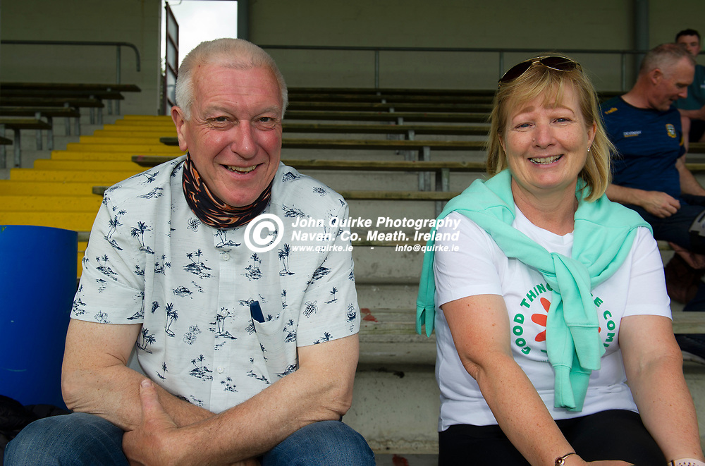 10-07-21. Meath v Cork - LGFA All-Ireland Senior Championship - Group 3 Round 1 at St. Brendan's Park, Birr.<br /> John and Nora Lally from Athboy were in St. Brendan's Park, Birr to support the Meath Lady Footballers.<br /> Photo: John Quirke / www.quirke.ie<br /> ©John Quirke Photography, 16 Proudstown Road, Navan. Co. Meath. (info@quirke.ie / 046-9028461 / 087-2579454).