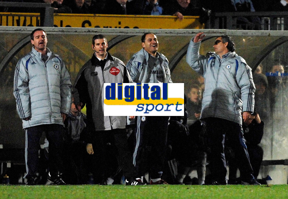 Photo: Richard Lane.<br />Wycombe Wanderers v Chelsea. Carling Cup, Semi Final 1st Leg. 10/01/2007. <br />The Chelsea bench show their feelings towards the referee as Jose Mourinho can not watch.