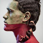 JAMESTOWN, VA - APRIL 5: Warren Taylor, a member of the Pamunkey Indian tribe, is dressed and painted for a ceremony commemorating the 400th anniversary of Pocahontas' wedding to John Rolfe, on Saturday, April 5, 2014 in Jamestown, Va.