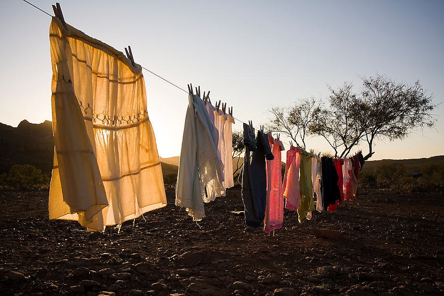Clothes hang to dry outside at sunset in a clearing in San Francisco de la Sierra, Baja California Sur, Mexico on January 30, 2009.