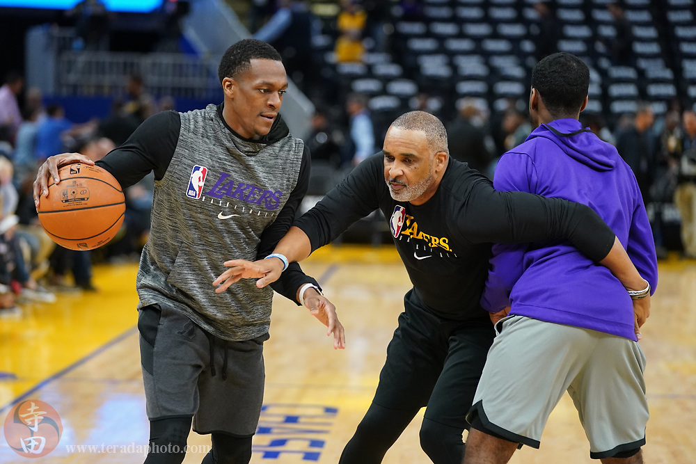 February 27, 2020; San Francisco, California, USA; Los Angeles Lakers guard Rajon Rondo (9) warms up before the game against the Golden State Warriors at Chase Center.