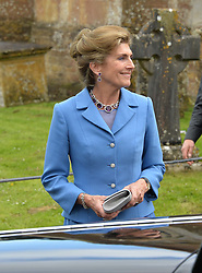 The Bride's mother PRINCESS VICTORIA VON PREUSSEN at the wedding of Princess Florence von Preussen second daughter of Prince Nicholas von Preussen to the Hon.James Tollemache youngest son of the 5th Lord Tollemache held at the Church of St.Michael & All Angels, East Coker, Somerset on 10th May 2014.