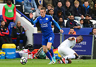 Jame Vardy of Leicester city battles with Christian Kabasele of Watford. Premier league match, Leicester City v Watford at the King Power Stadium in Leicester, Leicestershire on Saturday 6th May 2017.<br /> pic by Bradley Collyer, Andrew Orchard sports photography.