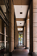 Corporate Building Walkway at Chifley Tower. Sydney's Central Business District is very empty as a result of the Coronavirus Outbreak, with very few office workers around, Sydney, Australia.