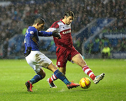 Leicester City's Anthony Knockaert has his shot blocked by Middlesbrough's George Friend - Photo mandatory by-line: Nigel Pitts-Drake/JMP - Tel: Mobile: 07966 386802 25/01/2014 - SPORT - FOOTBALL - King Power Stadium - Leicester - Leicester City v Middlesbrough - Sky Bet Championship