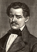 Johann Strauss the Elder (1804-1849) Austrian violinist, conductor and composer, born in Vienna. He composed numerous waltzes, but his son Johann the Younger excelled him.  Engraving from 'Le Journal de la Jeunesse'  (Paris, 1893).